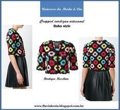 Cropped cardigan artesanal para inspirar. Para mais detalhes, confira no blog Universo da Moda & Cia.