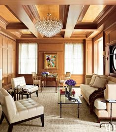 From Architectural Digesst: Trisha Reger features a chandelier from Carlos de la Puente Antiques suspended from a coffered ceiling lined in a Stark wall covering. Condo Living, Small Living Rooms, Living Spaces, Apartment Balcony Decorating, Apartment Renovation, Apartments Decorating, Interior Decorating Styles, Interior Design, Interior Ideas