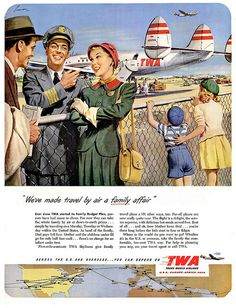 Make travel by air a family affair, urged this charming TWA ad from 1950. #fifties #1950s #vintage #airline #travel #plane #family