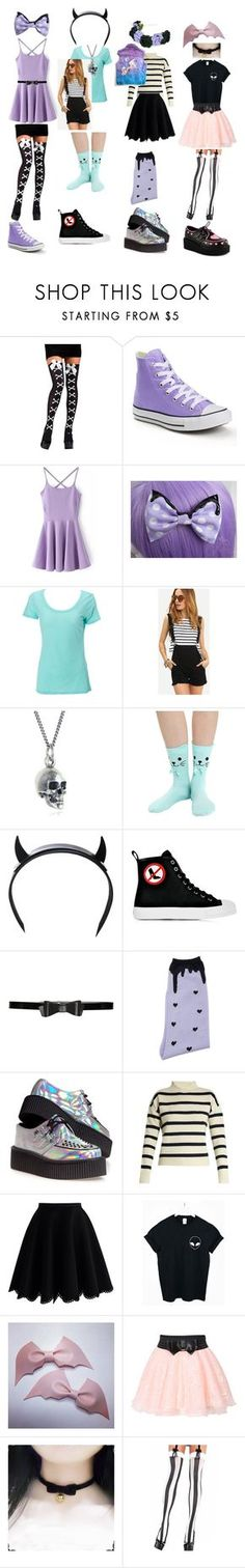 """pastel goth outfits!"" by becauseamazingness ❤ liked on Polyvore featuring Converse, Simplex Apparel, Black Pearl, Club Exx, Moschino, Alice + Olivia, MIGH-T BY KUMIKO WATARI, T.U.K., Tabula Rasa and Chicwish"