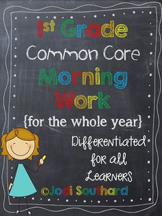 An ENTIRE year of Common Core Differentiated Morning Work for Graders. Maybe I can find some for Kindergarten! Teaching First Grade, First Grade Classroom, First Grade Math, Student Teaching, School Classroom, Classroom Activities, Teaching Tools, Grade 1, Teacher Resources