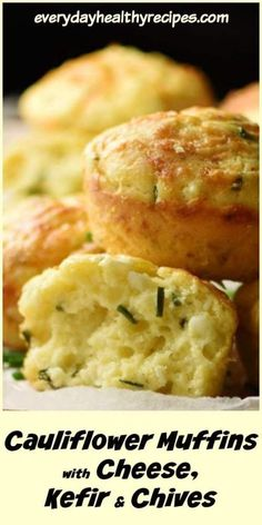 These savoury, super fluffy cauliflower muffins are made using cauliflower rice, a moderate amount of cheese, nutritious kefir and fresh chives. They make a delicious snack, lunchbox idea or savoury veggie breakfast. Cauliflower Muffins, Veggie Muffins, Savory Muffins, Healthy Muffins, Savory Snacks, Cauliflower Recipes, Cauliflower Rice, Yummy Snacks, Healthy Snacks
