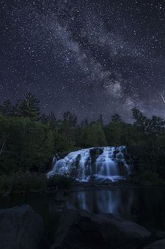 The Bond Falls under the Milky Way   photo by Jiqing fan