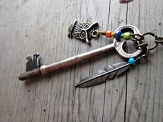 Soar  Necklace with antique skeleton key Vintage by TheArtSwallow
