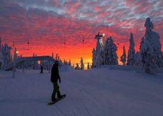 Skiing at sunset - beautiful