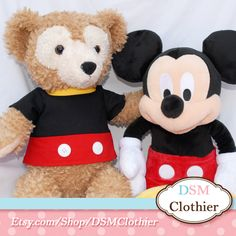 "Duffy hangs out with his pal Mickey Mouse on the set of a photo shoot. - Mickey Mouse Character Top for Disney 17"" Duffy and Shellie May Plush Bears #Duffy #ShellieMay #Disney #MickeyMouse #DuffyAndShellieMayClothier #DSMClothier #DSMC"