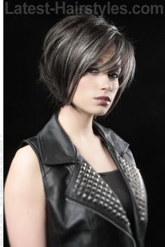 Short Dark Haircut with Fringe, Bumble & Bumble's Thickening Spray
