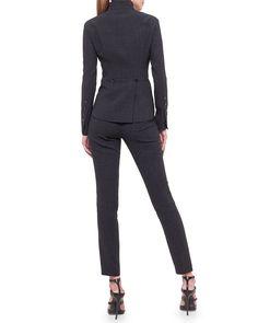 Akris Stand-Collar Arched-Hem Jacket & Melissa Wool Slim-Leg Pants