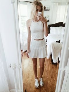 christiescloset:  Outfit today :-) American Apparel tennis skirt, Brandy Melville crop top, Nomadic Store choker, Windsor Smith lily's  Wishing everyone a good day!
