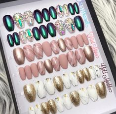 Gold Marble, Peacock, Nail Polish, Nails, Beauty, Finger Nails, Ongles, Peacock Bird, Manicure