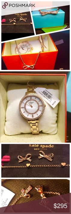 Kate Spade Rose Gold Bundle  Kate Spade Watch Bracelet Necklace Earrings Anklet Lot. Rose gold. Like new just never really wore & now I've gotten my Apple Watch I just won't ever wear it. Retails over $800 kate spade Jewelry Bracelets
