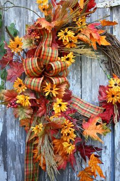 Buy a beautiful fall wreath Autumn Wreaths, Holiday Wreaths, Thanksgiving Decorations, Yule Decorations, Thanksgiving Wreaths, Fall Arrangements, Autumn Crafts, Fall Projects, Fall Harvest