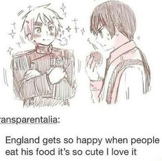 Look at him in his lovely uniform, so happy that someone is eating his hard worked on food! It's so cute! X3