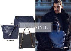 Fashion Men Fall 2013 #fall #autumn #2013 #men #fashion #dmafashion #bags #mismo #apc #loewe #balenciaga #blue