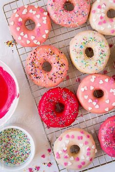 Lovely and colorful photo styling! Assorted homemade glazed donuts on a grid