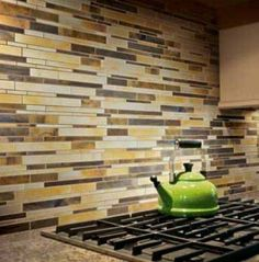 Backsplash idea- just replace the yellow bits with more of a brown or grey...