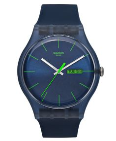 Swatch Watch, Unisex Swiss Blue Rebel Blue Silicone Strap 41mm SUON700 - Men's Watches - Jewelry & Watches - Macy's
