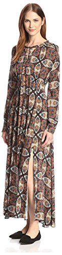Allison Collection Women's Kaleidoscope Maxi Dress, Burgundy/Green, XS