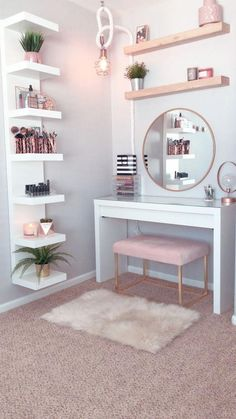 53 of the best makeup vanities and suitcases for a stylish bedroom 21 . Decor decor apartment decor budget decor diy decor ideas decor palets home decor home decor Room Design Bedroom, Room Ideas Bedroom, Bedroom Hacks, Master Bedroom, Bed Room, Bedroom Furniture, Ikea Bedroom, Pink Bedroom Decor, Diy Furniture