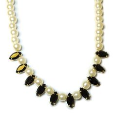Harajuku Style Pearl and Color Stone Statement Necklace Black -- Read more reviews of the product by visiting the link on the image.