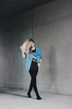 Alex Gaboury, Denim Jacket, Band T-shirt, Over the knee boots, Downtown St. Catharines.