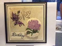 This is my work where I've Mat/Layered in Black and Custard Card, The Main Paper comes from Graphic 45 it's one of there 12 x 12 Papers that have Months of the year on, and this Is for a Birthday Card in May. The Fabulous Stamped Image is another JustRite Stamp (I Love There Stamps) I've used Spellbinder Labels 7  to cut this out, which is actually for this image, then I've Distressed around the edges with Dusty Concord Distress Ink from Tim a Holtz. (I used Copic  Pens to Colour and Shade…
