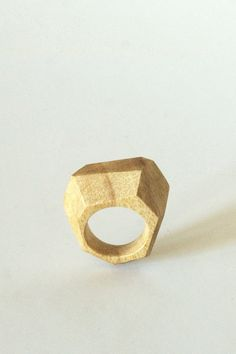 Hand Carved Wood Facet Ring, Knysna Black Wood