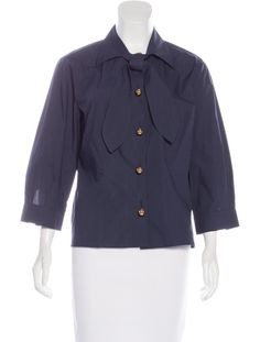 Navy blue Marni top with pointed collar, three-quarter sleeves, sash tie at neck and button closures at front.