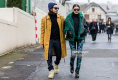 Giotto Calendoli and Patricia Manfield outside Kenzo during the Paris Fashion Week Menswear Fall/Winter 2016/2017 on January 23, 2016 in Paris, France.