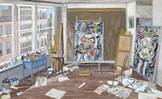 """Willem De Kooning's Studio (New York, 1952)"" 2016 gouache on board, 19"" x 28"" (48 x 71 cm)"