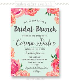 Trendy Watercolor Floral Bridal Brunch Invitation by shopPIXELSTIX