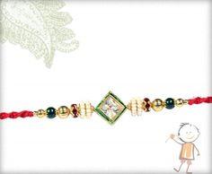 send rakhi to india - Square Diamond with Pearl Rings Rakhi