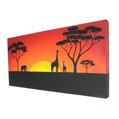 Sun Setting Over the African Plains original acrylic painting - African landscape on a long canvas with giraffe and elephant (UK only) Giraffe Silhouette, Silhouette Painting, African Paintings, African Art, Diy Canvas Art, Acrylic Painting Canvas, Landscape Drawings, Landscape Art, African Sunset