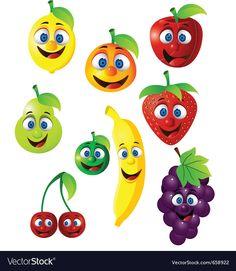 Fruit cartoon vector image on VectorStock Outdoor Christmas, Christmas Lights, Elephant Crafts, Fruit Cartoon, Fruits Images, Baby Knitting Patterns, Cartoon Characters, Adobe Illustrator, Vector Free