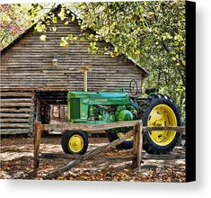 Vintage Canvas Print by Kenny Francis. All canvas prints are professionally printed, assembled, and shipped within 3 - 4 business days and delivered ready-to-hang on your wall. Choose from multiple print sizes, border colors, and canvas materials. Old John Deere Tractors, Vintage Tractors, Old Jeep, Old Gas Stations, Farm Art, Vintage Canvas, Country Art, Sale Poster, Old Barns