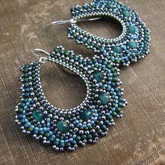 Teal Mosaic Earrings, Silver Hoop Earrings, Aqua Silver Beaded Earrings