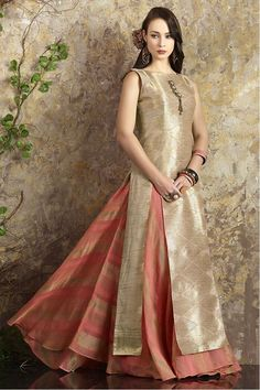 A delicately crafted Aishwarya Design Studio anarkali salwar Kameez dress, very feminine, yet appropriate for any festive occasion. #Eid http://www.aishwaryadesignstudio.com/stylish-gold-peach-anarkali-with-slit