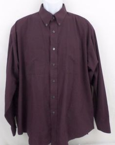 Van Heusen Maroon Wrinkle Free XL 17-17.5 Plaid Long Sleeve Button Down Collar #VanHeusen #ButtonFront