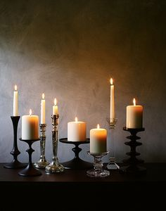 A variety of height, length, and style of candle holders is definitely pretty and unique.