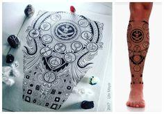 OS CÍRCULOS DOS ORIXÁS. Arte encomendada, tatuagem para perna.. Encomendas/orçamentos através do e-mail notovic@gmail.com