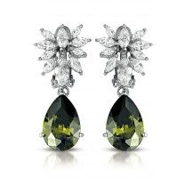 Vixity Collections C.Z. Sterling Silver Green and Clear Cubic Zirconia Dangle Earrings