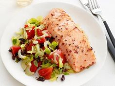 Salmon with Warm Tomato-Olive Salad from #FNMag #MyPlate #Protein