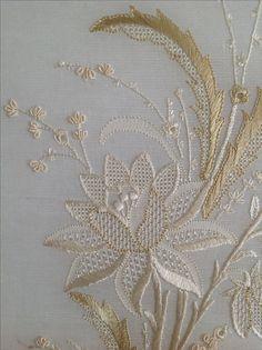 whitework embroidery by Mihrican Kaya (19.yy bir İngiliz el nakışı desenini ajur teknikleri kullanarak işledim)