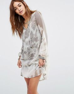 Religion | Religion Smock Dress In Muted Tie Dye at ASOS