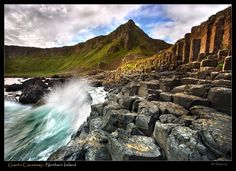 Giant's Causeway  Folklore tells us that an Irish giant named Finn MacCool once lived in the area, and from across the sea he could see a Scottish giant, Benandonner, his rival, whom he had never met.  Finn challenged Benandonner to come to Ireland to fight.  Finn built a causeway of stones in the water so that Benandonner would be able to make it across.    When Finn realized the Scottish giant was far bigger than he had expected, he fled to the hills where his wi