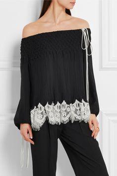 Chloé | Off-the-shoulder macramé lace-trimmed plissé-chiffon blouse | NET-A-PORTER.COM