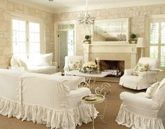 shabby chic!!! I always see to go back to white comforter white curtains white couches... I love this look in white ...