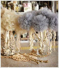 Glittered tulle balls wands with bells ~ For New Years Eve Party instead of horns=or victorias fairy birthday party. Fairy Birthday Party, Girl Birthday, Birthday Parties, Teen Parties, Tulle Poms, Tulle Balls, Tulle Flowers, Decoration Originale, New Years Eve Party