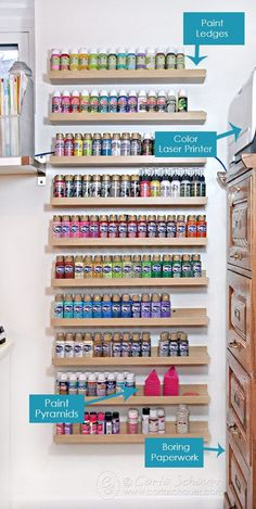 17 Ideas Craft Room Paint Storage Projects For 2019 Acrylic Paint Storage, Craft Paint Storage, Paint Organization, Art Studio Organization, Small Space Organization, Organization Ideas, Craft Storage Ideas For Small Spaces, Bedroom Storage For Small Rooms, Small Craft Rooms