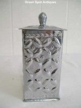 Silver Metal Square Tin With Bow-Like Raised Design (China  for SALE, ONLY $30.00 on http://greenspotantiques.com